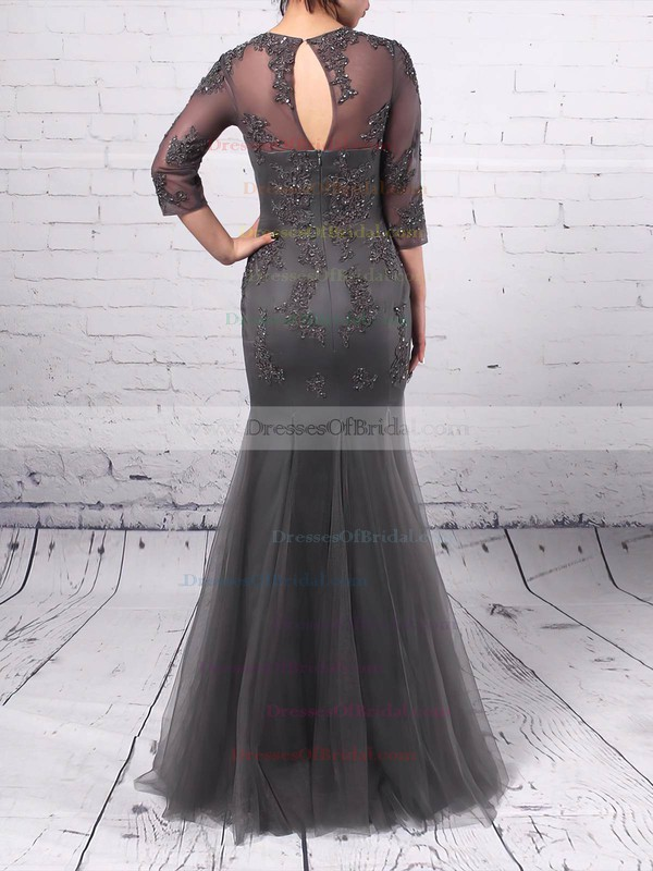 A-line Scoop Neck Tulle Floor-length Appliques Lace Mother of the Bride Dresses #DOB01021665