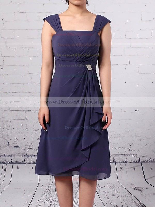 A-line Square Neckline Chiffon Knee-length Ruffles Mother of the Bride Dresses #DOB01021666