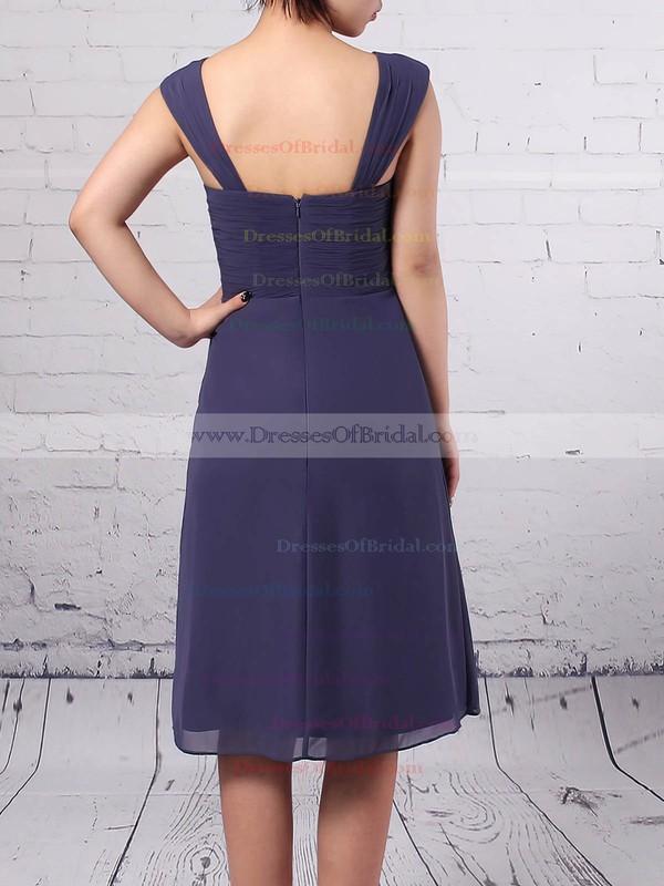 A-line Square Neckline Chiffon Knee-length Ruffles Mother of the Bride Dresses #DOB01021666