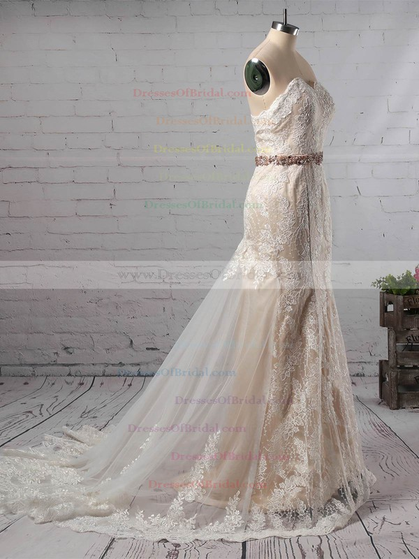 Trumpet/Mermaid Sweetheart Lace Tulle Watteau Train Sashes / Ribbons Wedding Dresses #DOB00023140