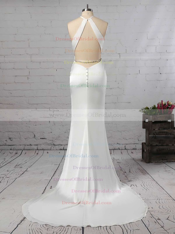 Trumpet/Mermaid Scoop Neck Chiffon Sweep Train Sashes / Ribbons Wedding Dresses #DOB00023145