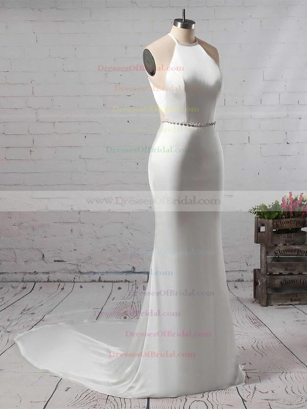 Trumpet/Mermaid Scoop Neck Chiffon Sweep Train Sashes / Ribbons Wedding Dresses #DOB00023145