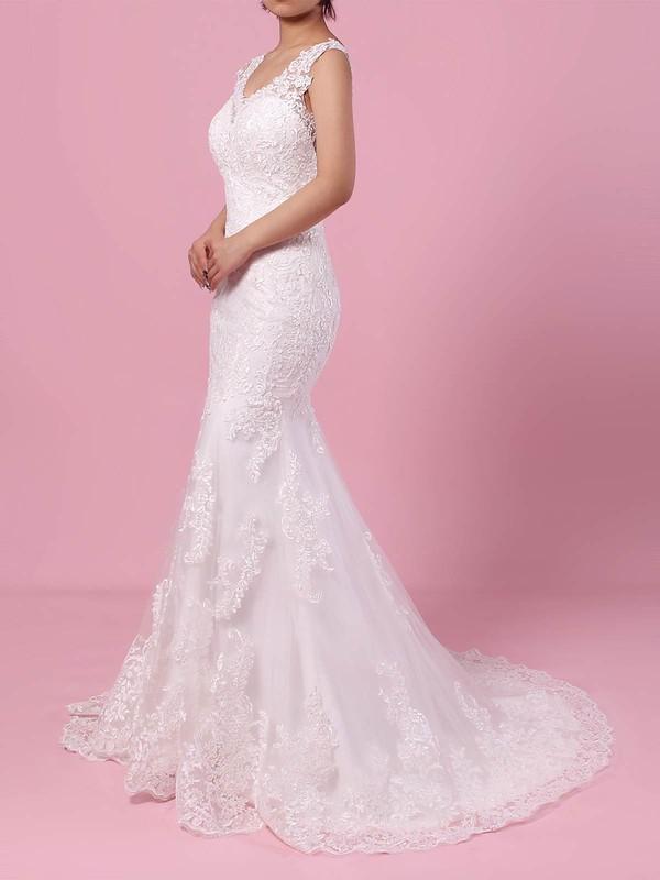 Trumpet/Mermaid V-neck Tulle Sweep Train Appliques Lace Wedding Dresses #DOB00023187