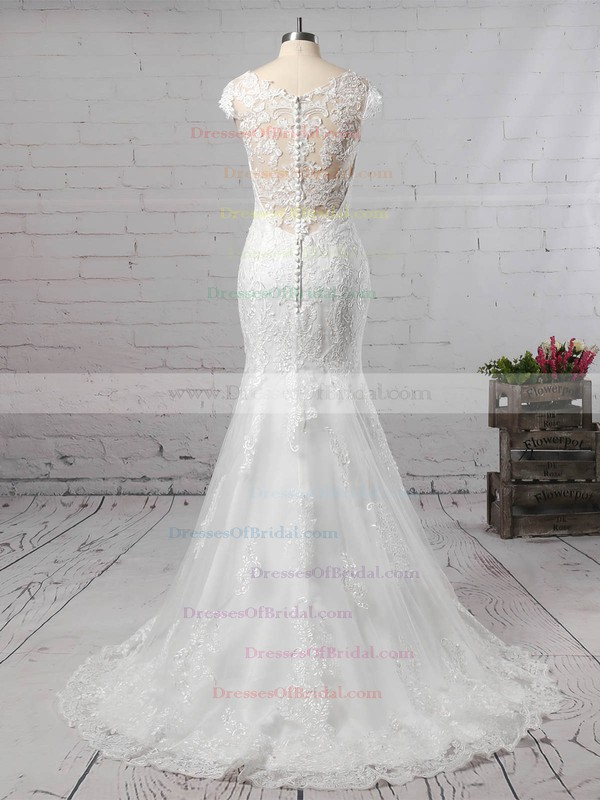Trumpet/Mermaid V-neck Tulle Sweep Train Appliques Lace Wedding Dresses #DOB00023187
