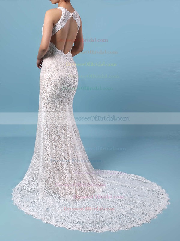 Sheath/Column Scoop Neck Lace Sweep Train Split Front Wedding Dresses #DOB00023287