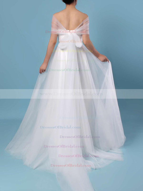 A-line Strapless Tulle Sweep Train Ruffles Wedding Dresses #DOB00023347