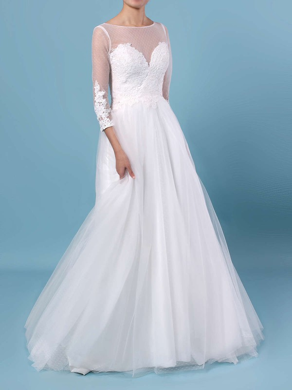 A-line Scoop Neck Tulle Floor-length Appliques Lace Wedding Dresses #DOB00023348