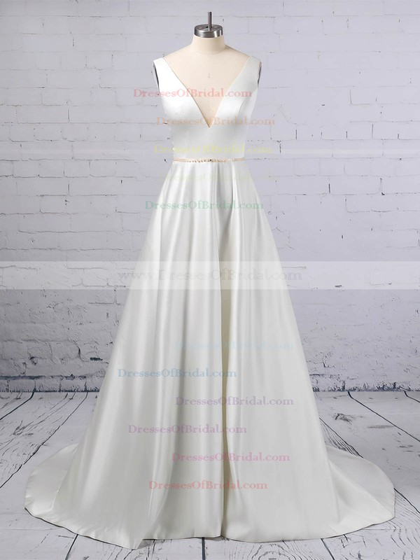 A-line V-neck Satin Sweep Train Beading Wedding Dresses #DOB00023350
