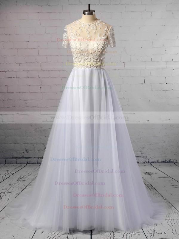 Princess Scoop Neck Tulle Sweep Train Beading Wedding Dresses #DOB00023351