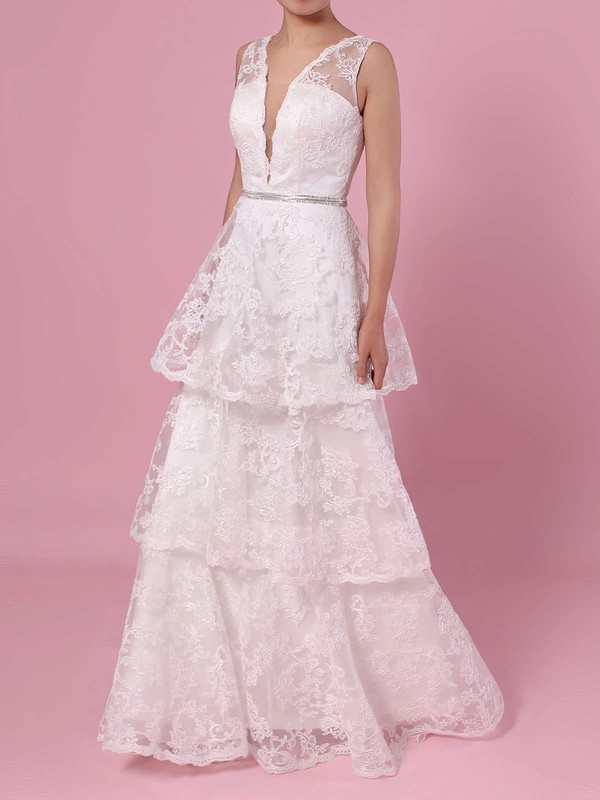 A-line V-neck Lace Sweep Train Beading Wedding Dresses #DOB00023353