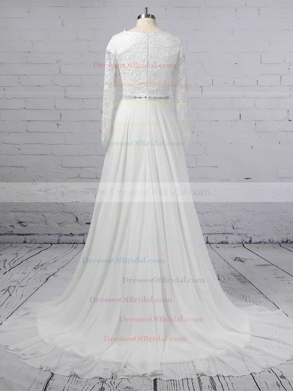 A-line Scoop Neck Lace Chiffon Sweep Train Beading Wedding Dresses #DOB00023355