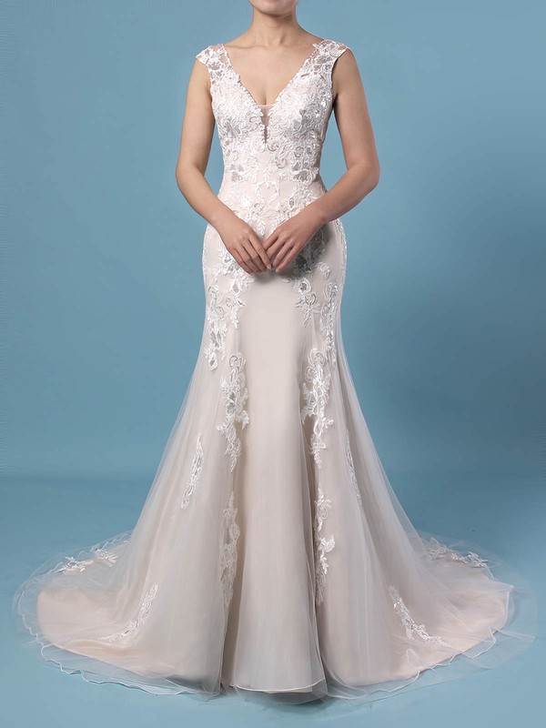 A-line V-neck Tulle Sweep Train Appliques Lace Wedding Dresses #DOB00023356