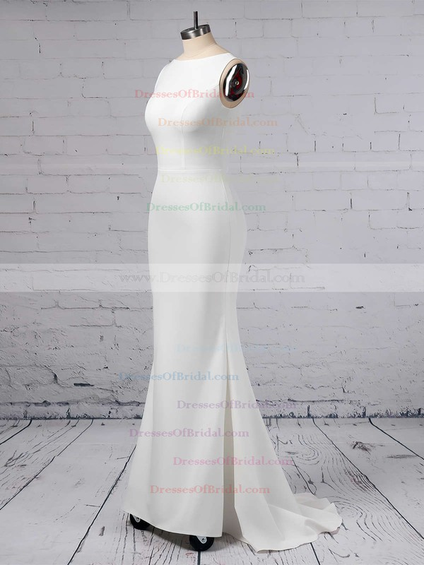 Sheath/Column Scoop Neck Satin Chiffon Sweep Train Wedding Dresses #DOB00023357