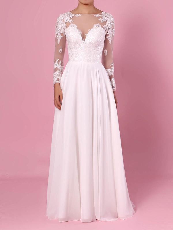 A-line Scoop Neck Chiffon Tulle Floor-length Beading Wedding Dresses #DOB00023359