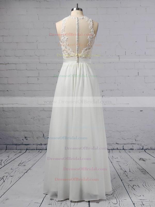 A-line Scoop Neck Chiffon Tulle Floor-length Beading Wedding Dresses #DOB00023360