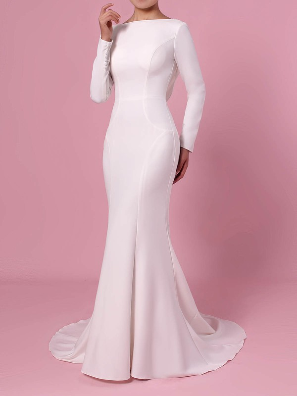 Trumpet/Mermaid Scoop Neck Silk-like Satin Sweep Train Wedding Dresses #DOB00023362
