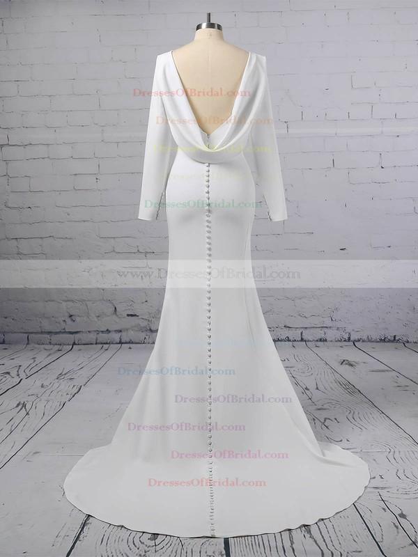 Trumpet/Mermaid Scoop Neck Silk-like Satin Sweep Train Wedding Dresses #DOB00023362