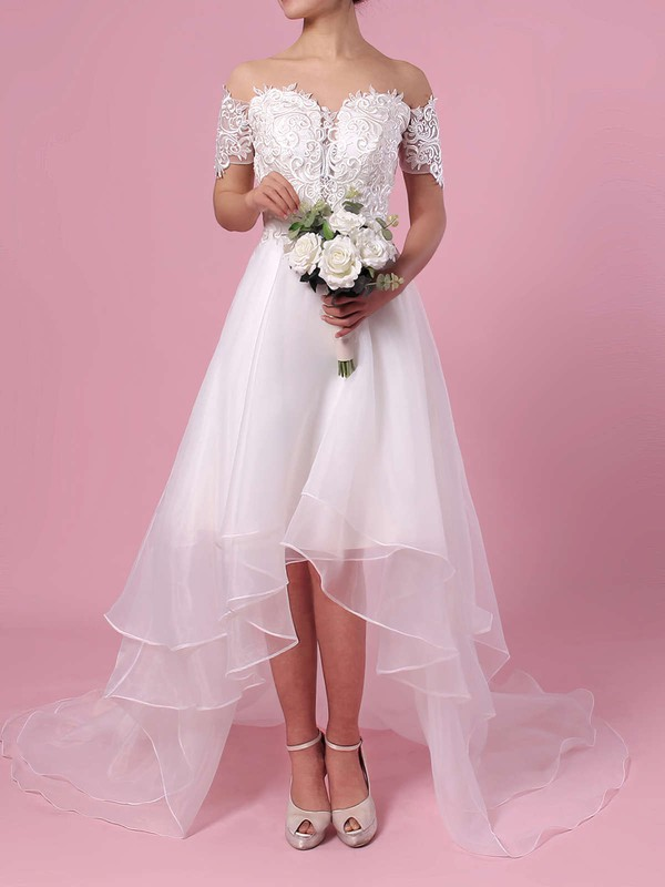 A-line Off-the-shoulder Organza Asymmetrical Appliques Lace Wedding Dresses #DOB00023363