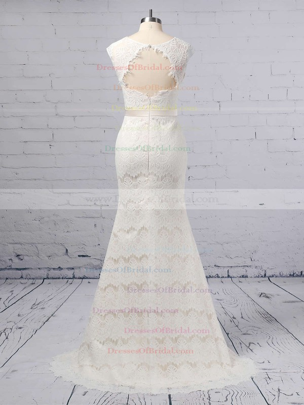 Trumpet/Mermaid Scoop Neck Lace Floor-length Sashes / Ribbons Wedding Dresses #DOB00023364