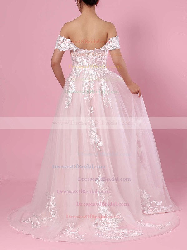 A-line Off-the-shoulder Tulle Sweep Train Appliques Lace Wedding Dresses #DOB00023365