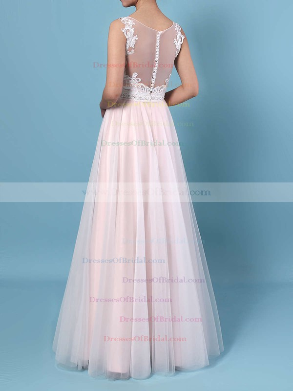 A-line V-neck Tulle Floor-length Beading Wedding Dresses #DOB00023366