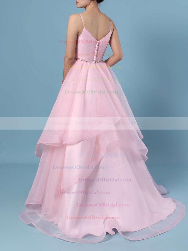 Ball Gown V-neck Organza Sweep Train Beading Wedding Dresses #DOB00023367