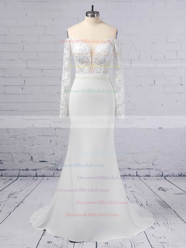 Trumpet/Mermaid Off-the-shoulder Tulle Satin Chiffon Sweep Train Appliques Lace Wedding Dresses #DOB00023368