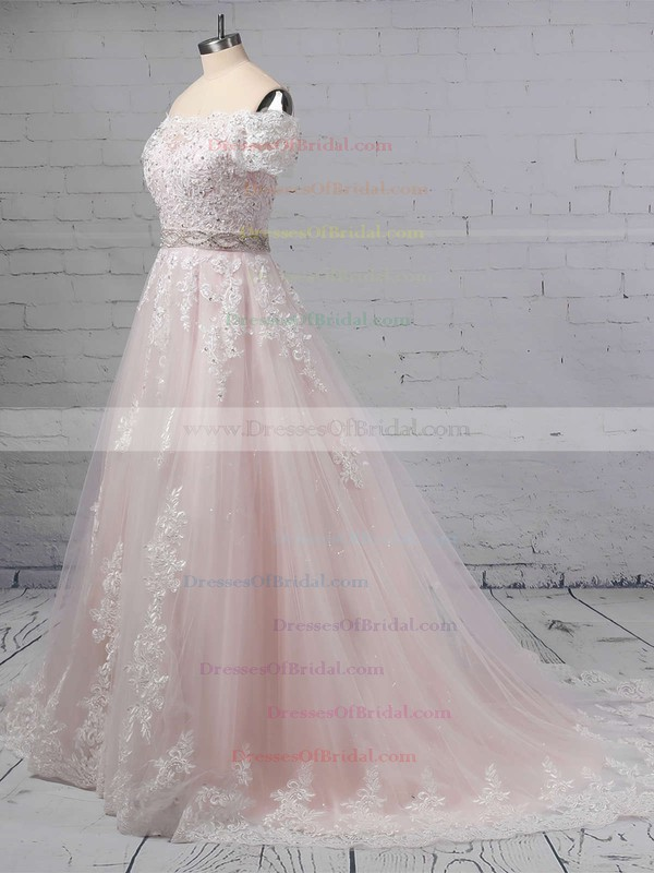 Ball Gown Off-the-shoulder Tulle Sweep Train Beading Wedding Dresses #DOB00023369