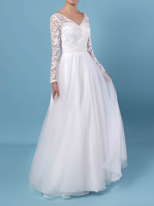 A-line V-neck Lace Tulle Floor-length Wedding Dresses #DOB00023370