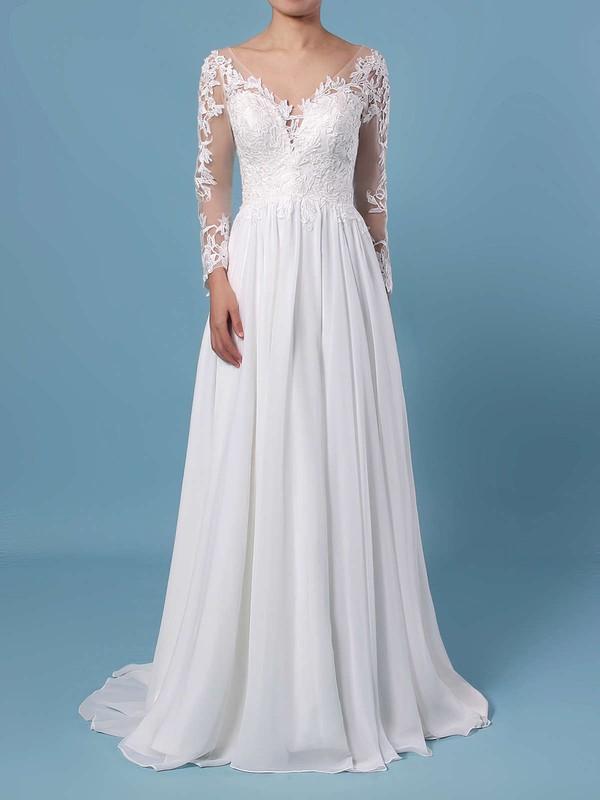 A-line V-neck Chiffon Tulle Sweep Train Appliques Lace Wedding Dresses #DOB00023371