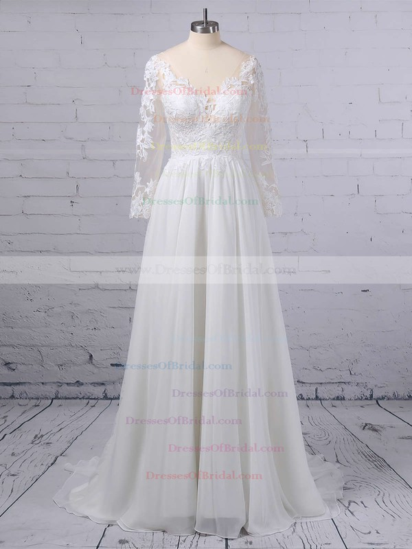 A-line V-neck Chiffon Tulle Sweep Train Appliques Lace Wedding Dresses #DOB00023371