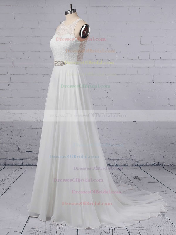 A-line Scoop Neck Lace Chiffon Floor-length Sashes / Ribbons Wedding Dresses #DOB00023372