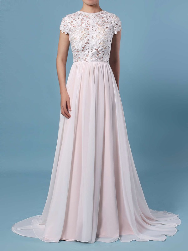A-line Scoop Neck Lace Chiffon Floor-length Wedding Dresses #DOB00023373