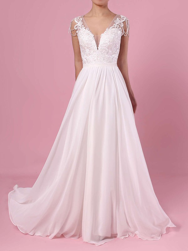 A-line V-neck Chiffon Tulle Sweep Train Beading Wedding Dresses #DOB00023374