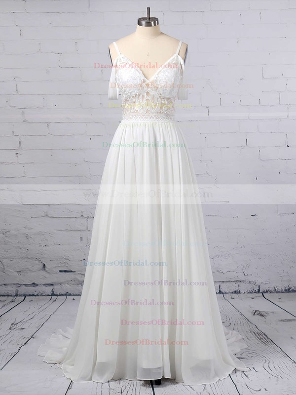 A-line V-neck Chiffon Sweep Train Lace Wedding Dresses #DOB00023377