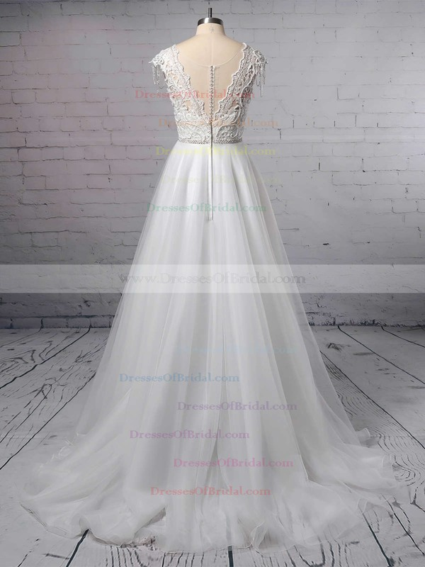 Princess V-neck Tulle Sweep Train Appliques Lace Wedding Dresses #DOB00023380