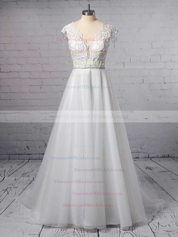 Princess V-neck Tulle Sweep Train Appliques Lace Wedding Dresses #DOB00023380
