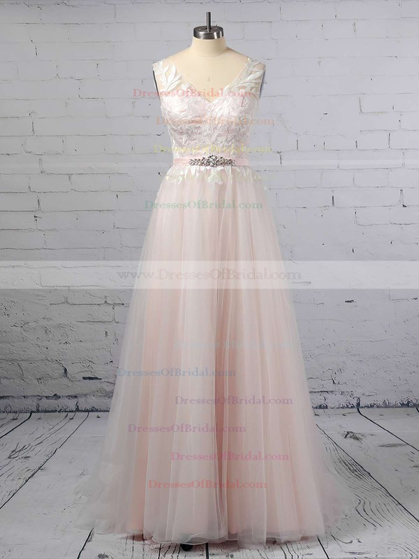 Princess V-neck Tulle Sweep Train Appliques Lace Wedding Dresses #DOB00023381