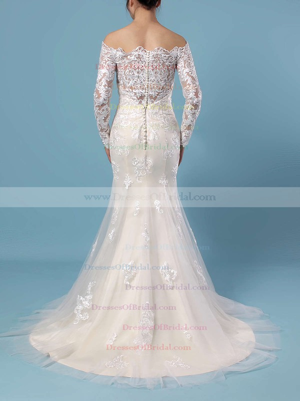 Trumpet/Mermaid Off-the-shoulder Tulle Sweep Train Beading Wedding Dresses #DOB00023385
