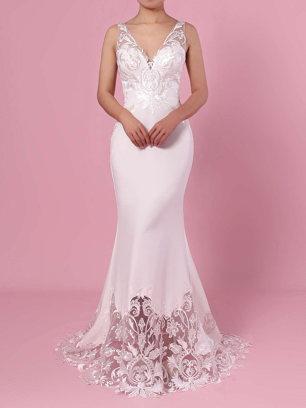 Trumpet/Mermaid V-neck Tulle Silk-like Satin Sweep Train Embroidered Wedding Dresses #DOB00023387