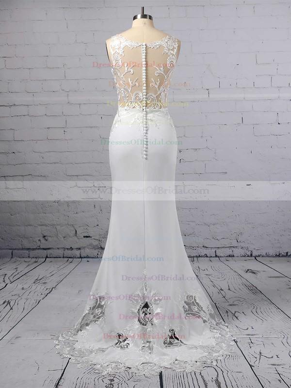Trumpet/Mermaid V-neck Tulle Silk-like Satin Sweep Train Embroidered Wedding Dresses #DOB00023387
