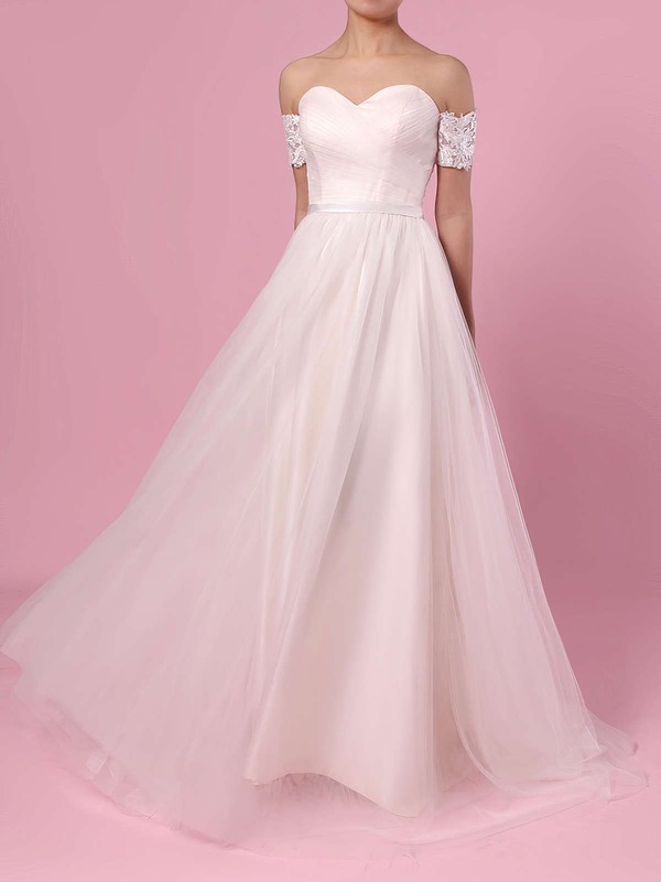 Princess Off-the-shoulder Tulle Sweep Train Sashes / Ribbons Wedding Dresses #DOB00023388
