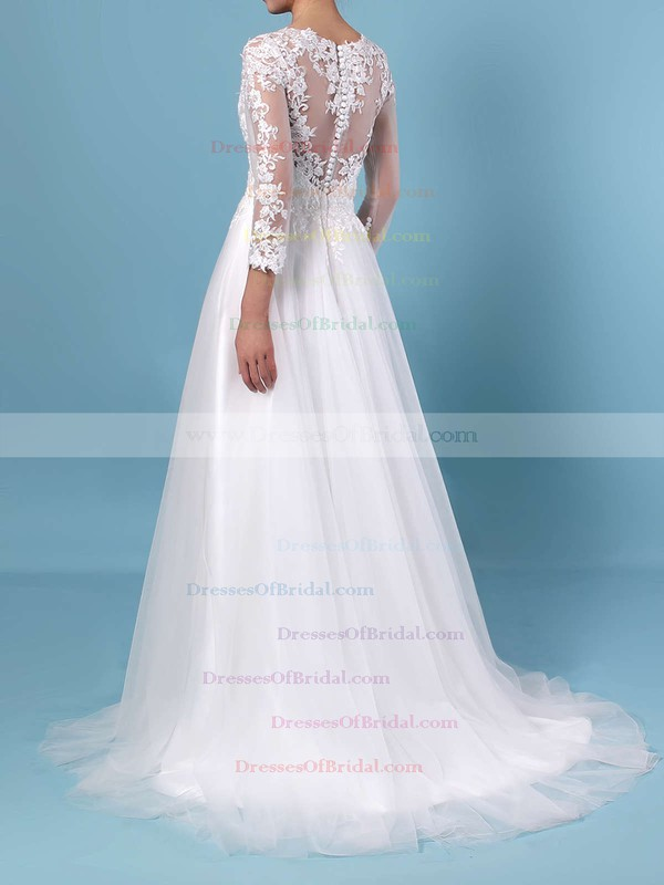 Princess Scoop Neck Tulle Sweep Train Appliques Lace Wedding Dresses #DOB00023389