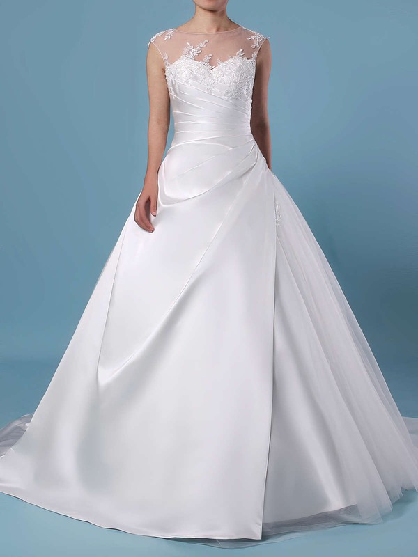 Ball Gown Scoop Neck Tulle Sweep Train Appliques Lace Wedding Dresses #DOB00023390
