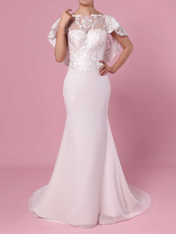Trumpet/Mermaid Scoop Neck Lace Chiffon Sweep Train Appliques Lace Wedding Dresses #DOB00023391