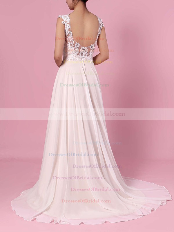 A-line Scoop Neck Chiffon Tulle Sweep Train Split Front Wedding Dresses #DOB00023392