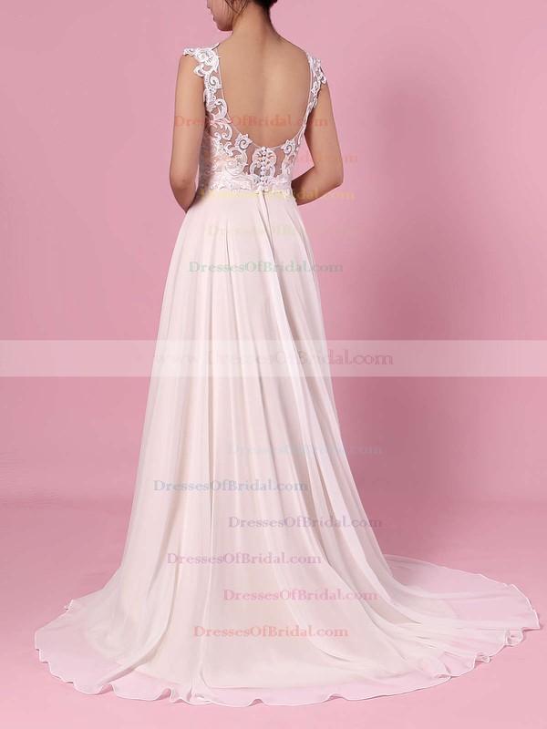 A-line Scoop Neck Chiffon Tulle Sweep Train Split Front Wedding Dresses #DOB00023392