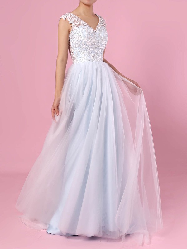 A-line V-neck Tulle Sweep Train Appliques Lace Wedding Dresses #DOB00023394