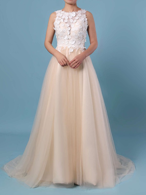 A-line Scoop Neck Lace Tulle Sweep Train Appliques Lace Wedding Dresses #DOB00023395
