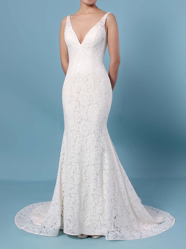 Trumpet/Mermaid V-neck Lace Sweep Train Wedding Dresses #DOB00023398